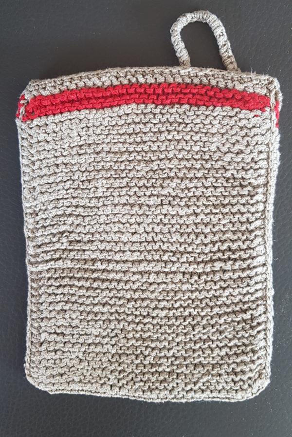 Massagehandschuh aus Leinen_peelinghandschuh roter streifen