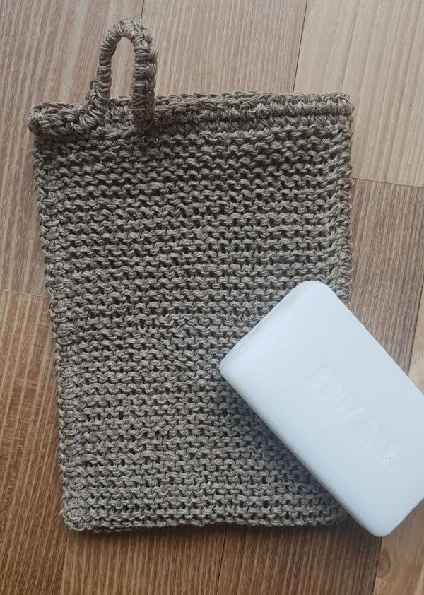 Massagehandschuh aus Leinen_massagehandschuh mit Seife